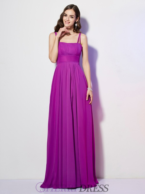 Sheath/Column Spaghetti Straps Chiffon Sleeveless Floor-Length Dresses