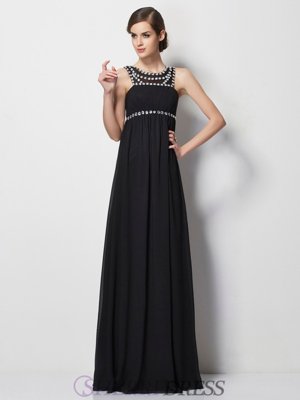 Sheath/Column High Neck Chiffon Sleeveless Floor-Length Dresses