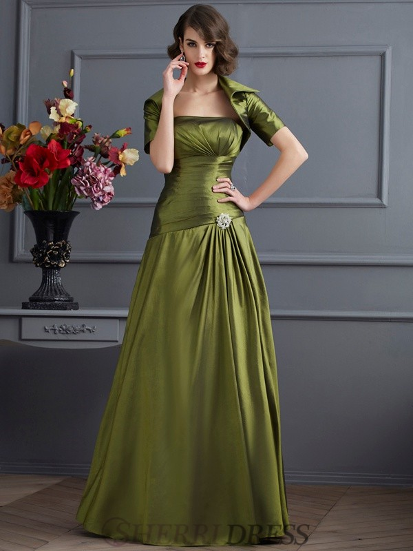 A-Line/Princess Strapless Taffeta Sleeveless Floor-Length Dresses