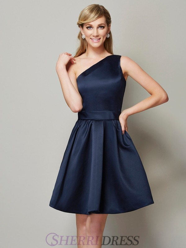 A-Line/Princess One-Shoulder Satin Sleeveless Short/Mini Bridesmaid Dresses