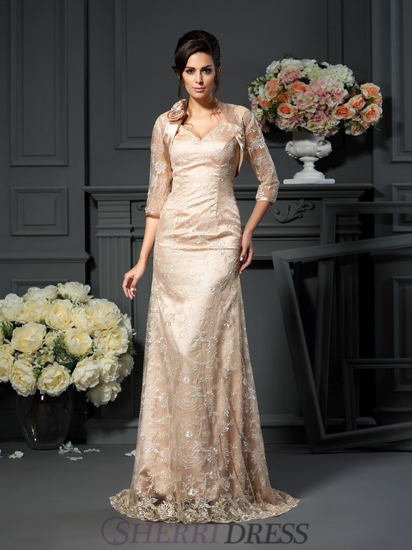 A-Line/Princess V-neck Elastic Woven Satin Sleeveless Floor-Length Mother of the Bride Dresses