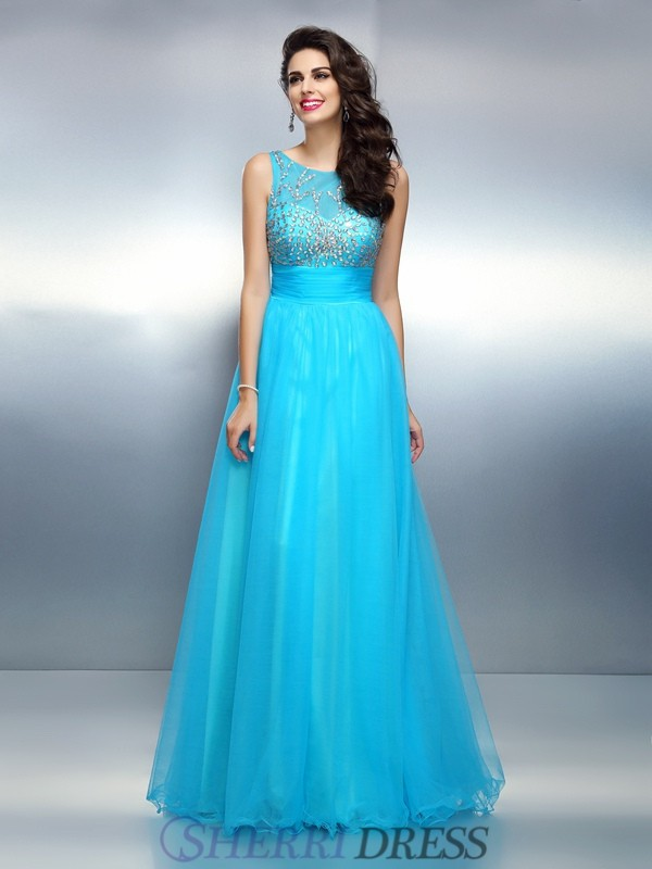A-Line/Princess Bateau Elastic Woven Satin Sleeveless Floor-Length Dresses