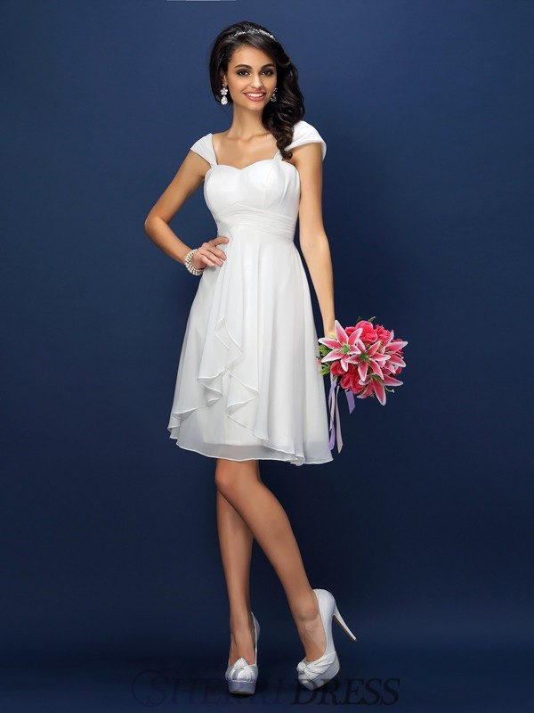 A-Line/Princess Straps Chiffon Sleeveless Short/Mini Bridesmaid Dresses