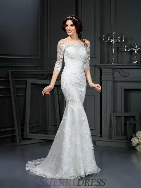 Sheath/Column Off-the-Shoulder Lace 1/2 Sleeves Sweep/Brush Train Wedding Dresses