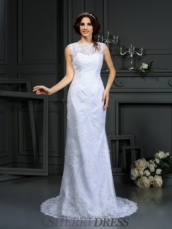 Sheath/Column High Neck Lace Sleeveless Court Train Wedding Dresses