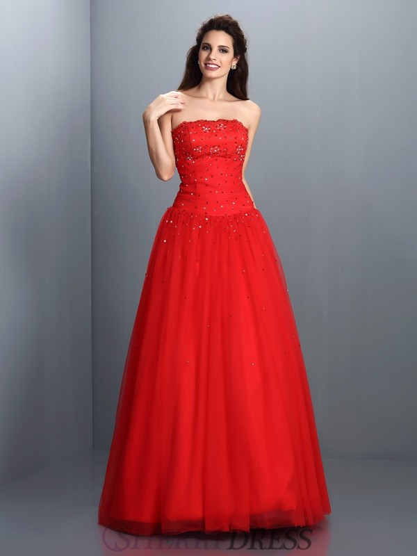 Ball Gown Strapless Organza Sleeveless Floor-Length Dresses