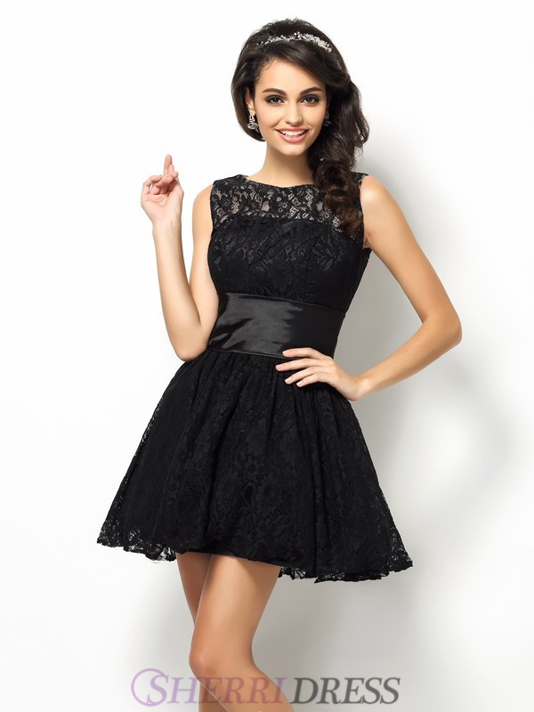 A-Line/Princess Bateau Lace Sleeveless Short/Mini Dresses