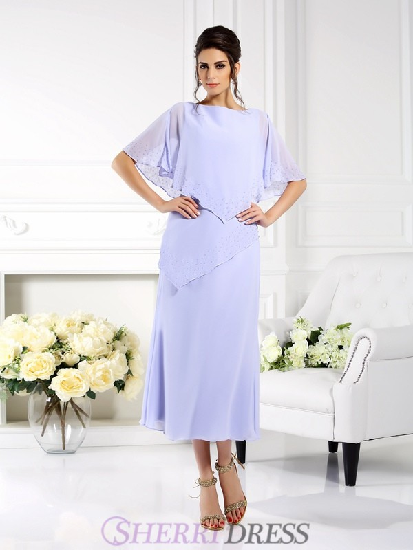 Sheath/Column Bateau Chiffon 1/2 Sleeves Ankle-Length Mother of the Bride Dresses