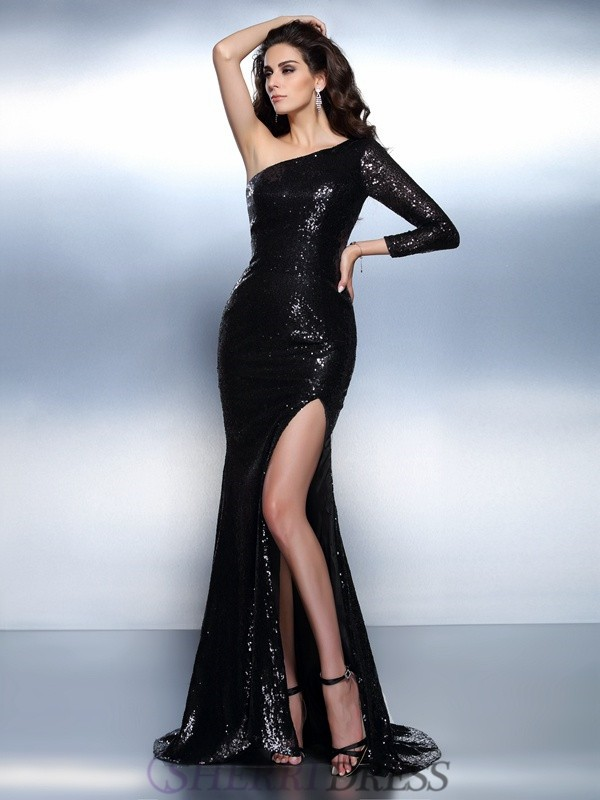 Trumpet/Mermaid One-Shoulder Lace Long Sleeves Sweep/Brush Train Evening Dresses