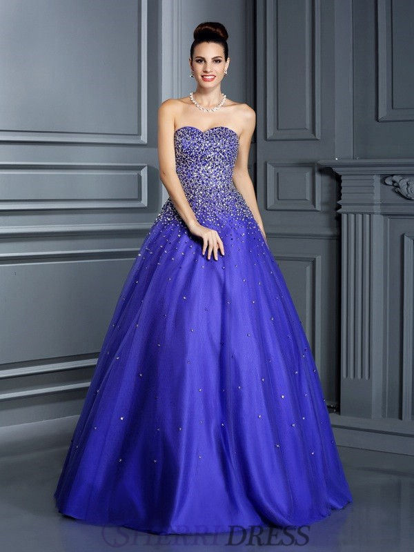 Ball Gown Sweetheart Net Sleeveless Floor-Length Prom Dresses