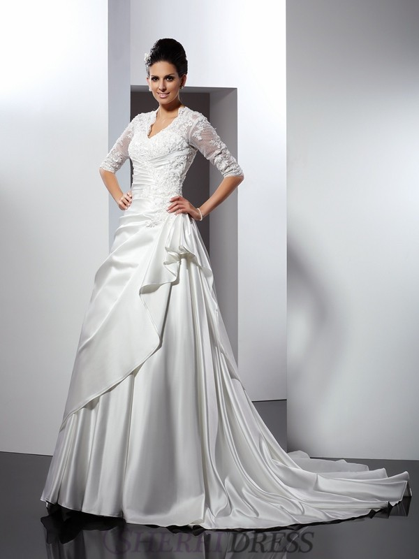 A-Line/Princess V-neck Satin 1/2 Sleeves Chapel Train Wedding Dresses