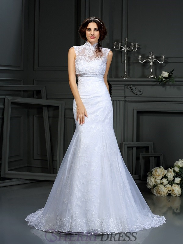 Trumpet/Mermaid Sweetheart Satin Sleeveless Court Train Wedding Dresses