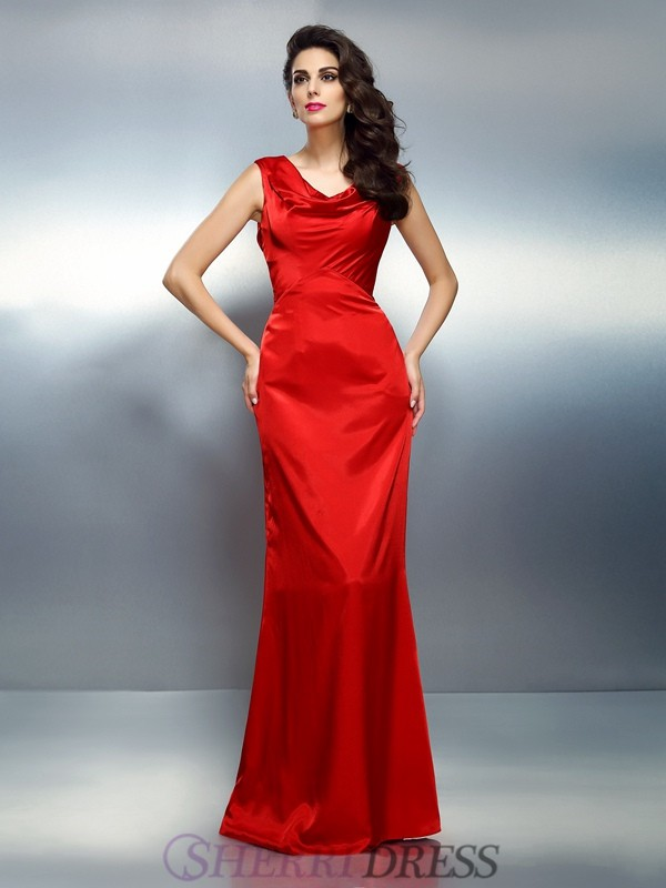 Trumpet/Mermaid V-neck Silk like Satin Sleeveless Floor-Length Dresses