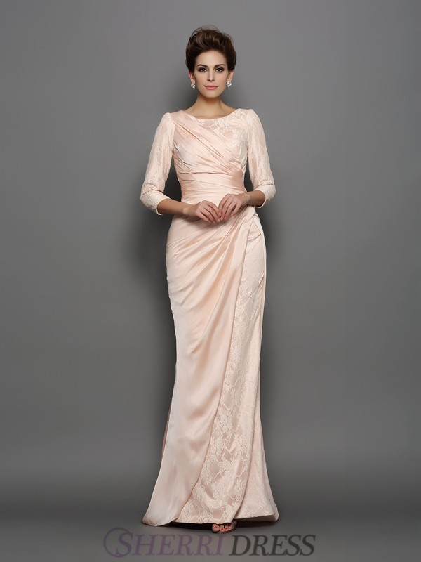 Trumpet/Mermaid Bateau Chiffon 3/4 Sleeves Sweep/Brush Train Mother of the Bride Dresses