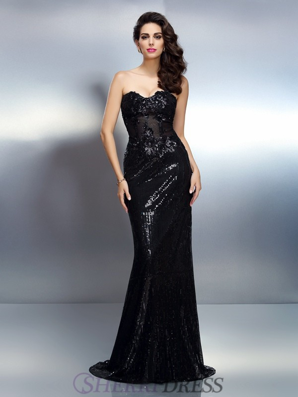 Trumpet/Mermaid Sweetheart Lace Sleeveless Sweep/Brush Train Evening Dresses