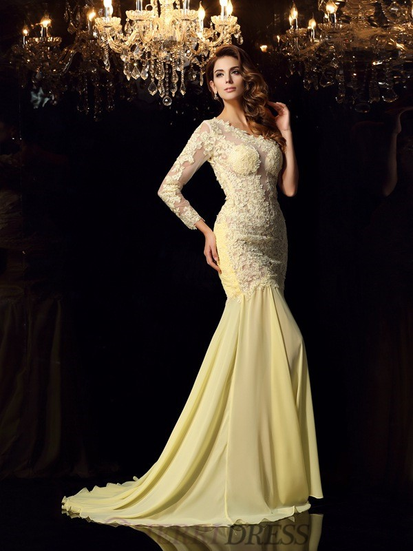 Trumpet/Mermaid One-Shoulder Chiffon Long Sleeves Chapel Train Dresses