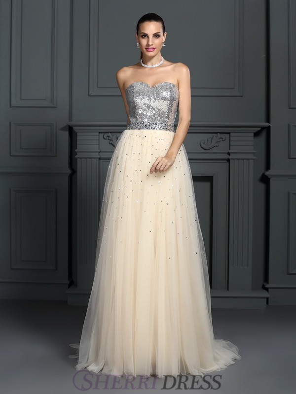 A-Line/Princess Sweetheart Lace Sleeveless Floor-Length Dresses