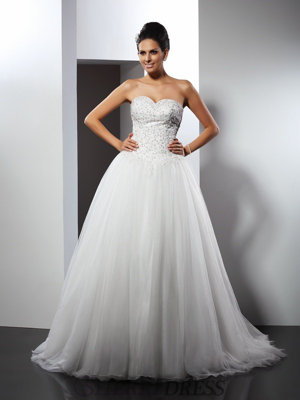 A-Line/Princess Sweetheart Net Sleeveless Chapel Train Wedding Dresses