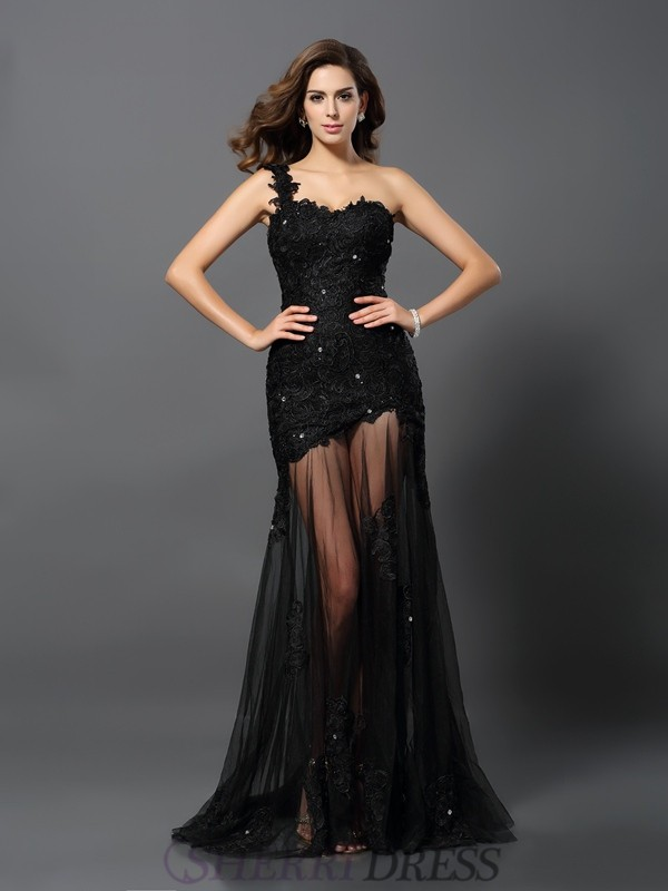 Sheath/Column One-Shoulder Lace Sleeveless Sweep/Brush Train Dresses