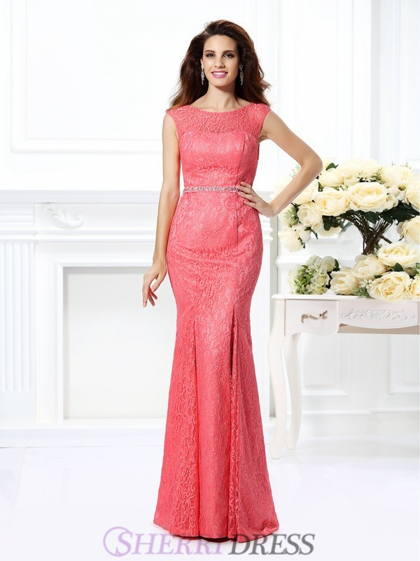 Trumpet/Mermaid Bateau Lace Sleeveless Floor-Length Evening Dresses
