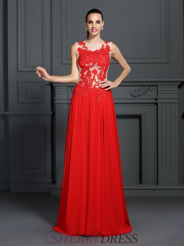 A-Line/Princess Bateau Chiffon Sleeveless Sweep/Brush Train Dresses