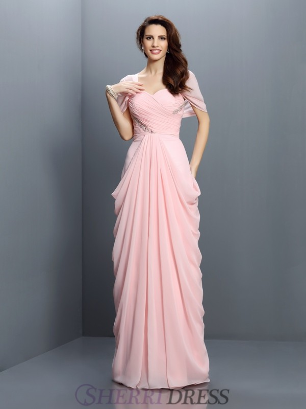 A-Line/Princess Sweetheart Chiffon Short Sleeves Floor-Length Bridesmaid Dresses