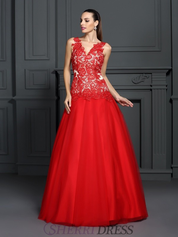 Ball Gown V-neck Lace Sleeveless Floor-Length Prom Dresses