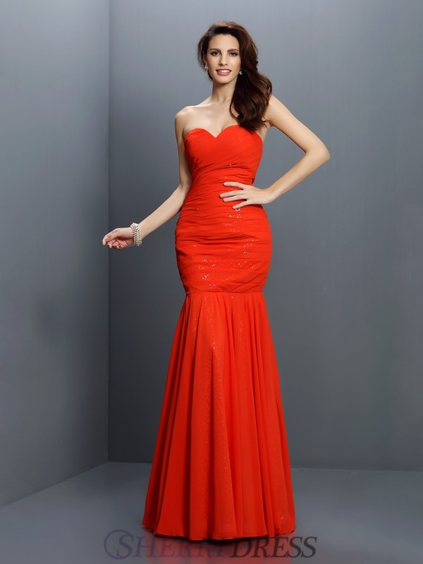 Trumpet/Mermaid Sweetheart Chiffon Sleeveless Floor-Length Bridesmaid Dresses
