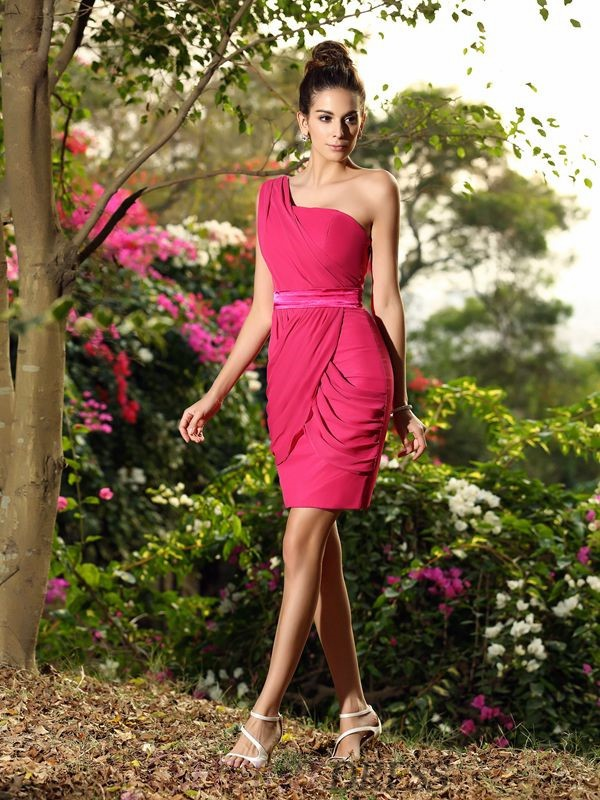 Sheath/Column One-Shoulder Chiffon Sleeveless Short/Mini Bridesmaid Dresses