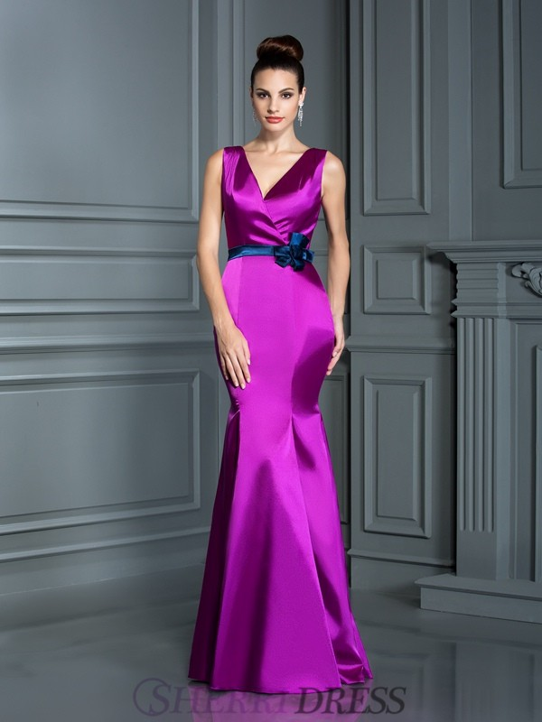 Trumpet/Mermaid V-neck Elastic Woven Satin Sleeveless Floor-Length Bridesmaid Dresses