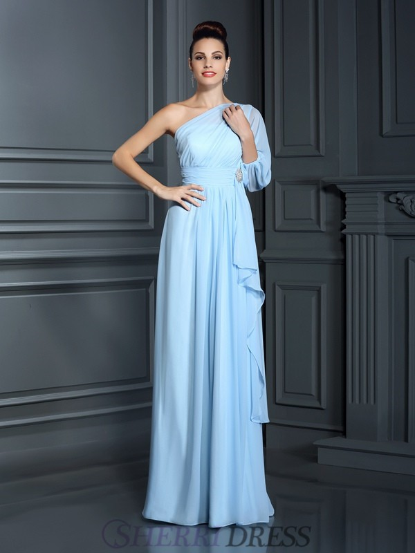 Sheath/Column One-Shoulder Chiffon 3/4 Sleeves Floor-Length Bridesmaid Dresses