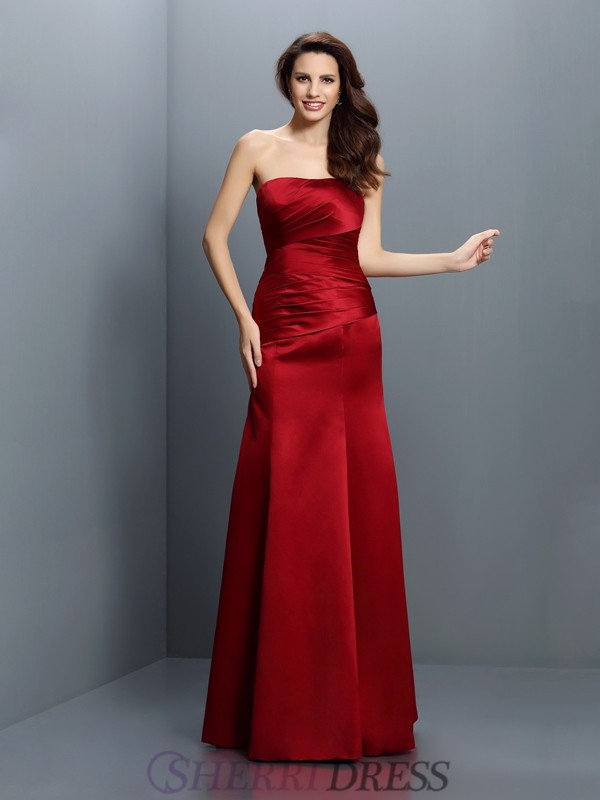 Sheath/Column Strapless Satin Sleeveless Floor-Length Bridesmaid Dresses