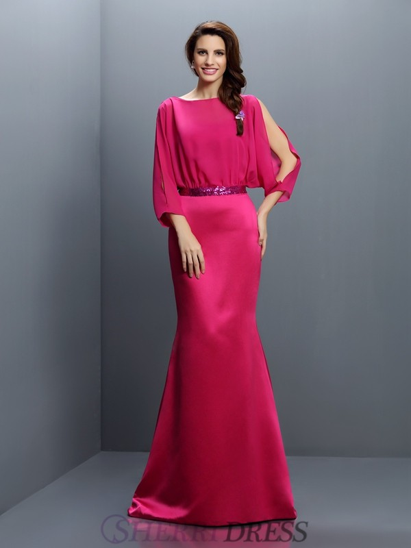 Trumpet/Mermaid Bateau Chiffon Long Sleeves Sweep/Brush Train Bridesmaid Dresses