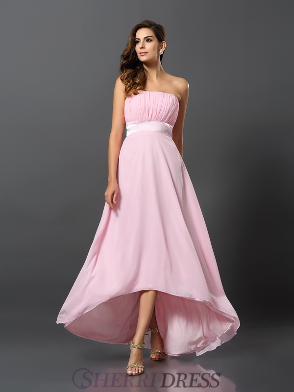 A-Line/Princess Strapless Chiffon Sleeveless Asymmetrical Bridesmaid Dresses