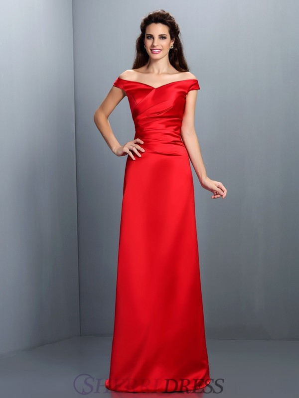 Sheath/Column Off-the-Shoulder Chiffon Sleeveless Floor-Length Bridesmaid Dresses