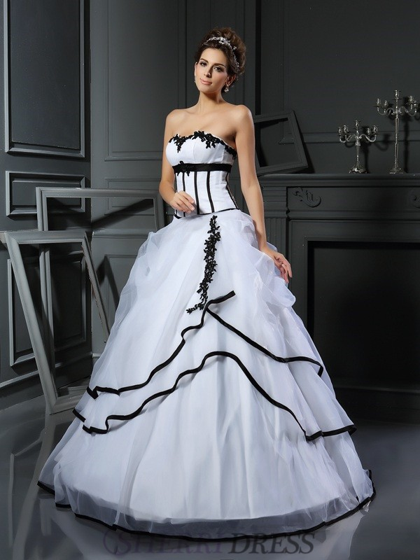 Ball Gown Sweetheart Satin Sleeveless Floor-Length Wedding Dresses