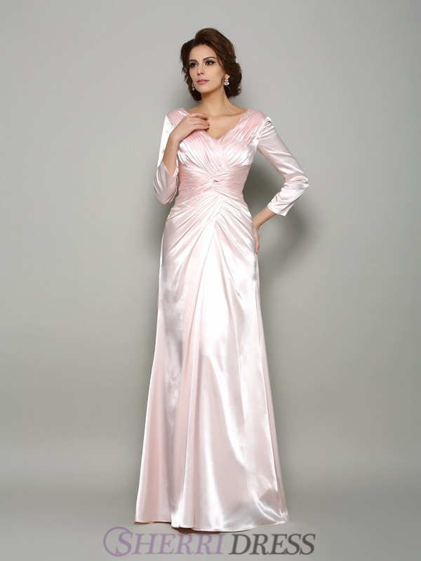 A-Line/Princess V-neck Silk like Satin Long Sleeves Floor-Length Mother of the Bride Dresses