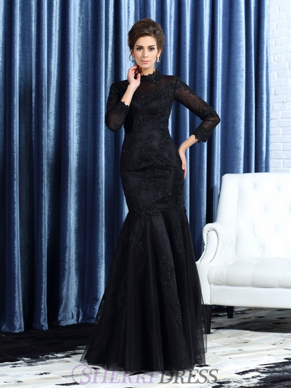 Trumpet/Mermaid High Neck Tulle Long Sleeves Floor-Length Mother of the Bride Dresses