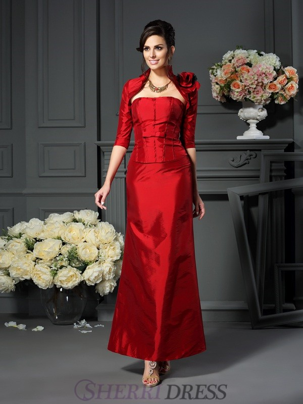 A-Line/Princess Strapless Taffeta Sleeveless Ankle-Length Mother of the Bride Dresses