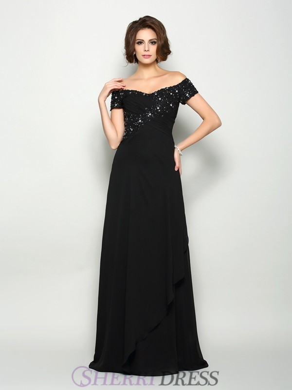 A-Line/Princess Off-the-Shoulder Chiffon Short Sleeves Sweep/Brush Train Mother of the Bride Dresses