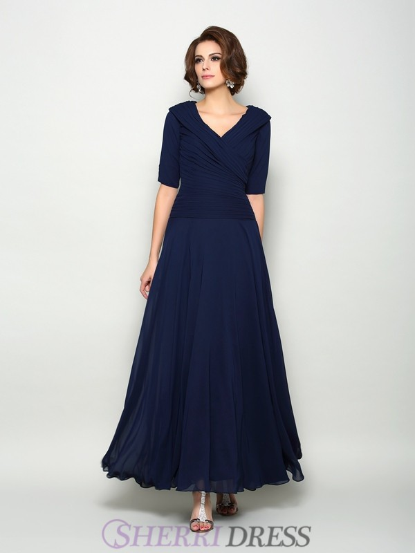 A-Line/Princess V-neck Chiffon 1/2 Sleeves Ankle-Length Mother of the Bride Dresses