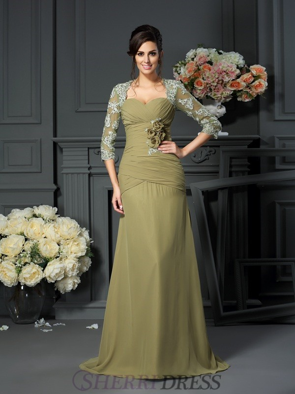 A-Line/Princess Sweetheart Chiffon 1/2 Sleeves Floor-Length Mother of the Bride Dresses