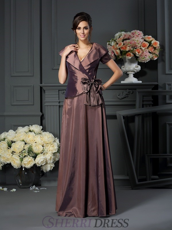 A-Line/Princess V-neck Taffeta Short Sleeves Floor-Length Mother of the Bride Dresses