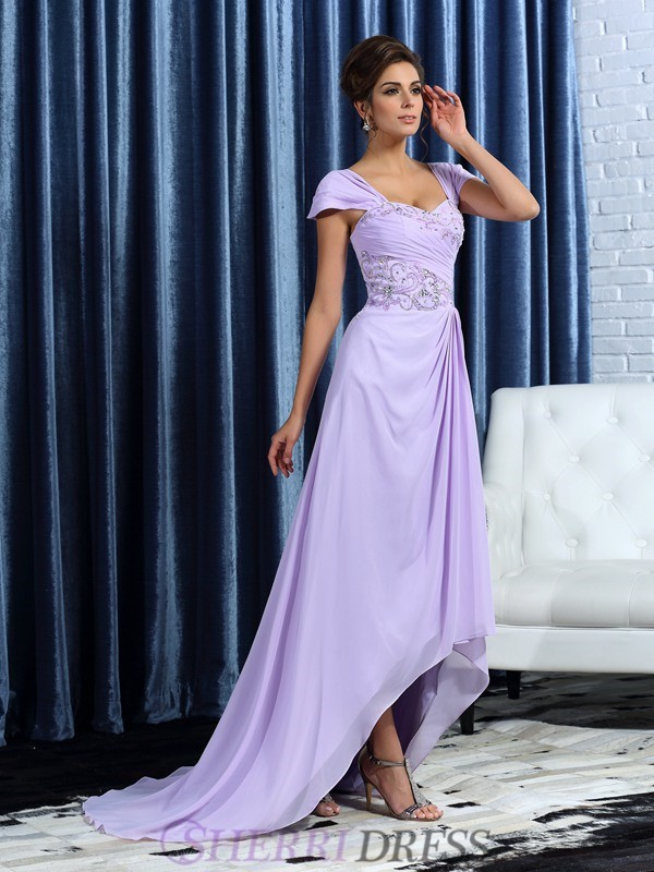 A-Line/Princess Straps Chiffon Sleeveless Asymmetrical Mother of the Bride Dresses