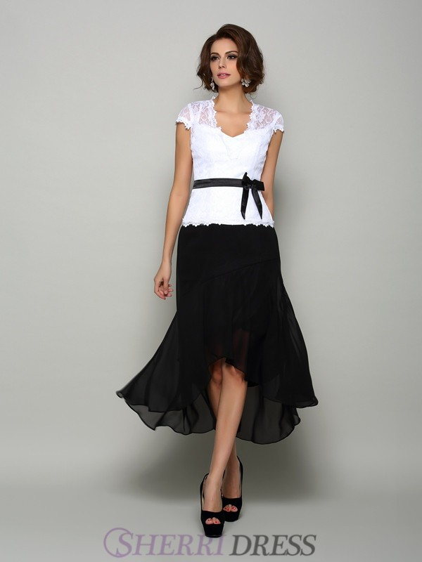 A-Line/Princess V-neck Chiffon Sleeveless Asymmetrical Mother of the Bride Dresses