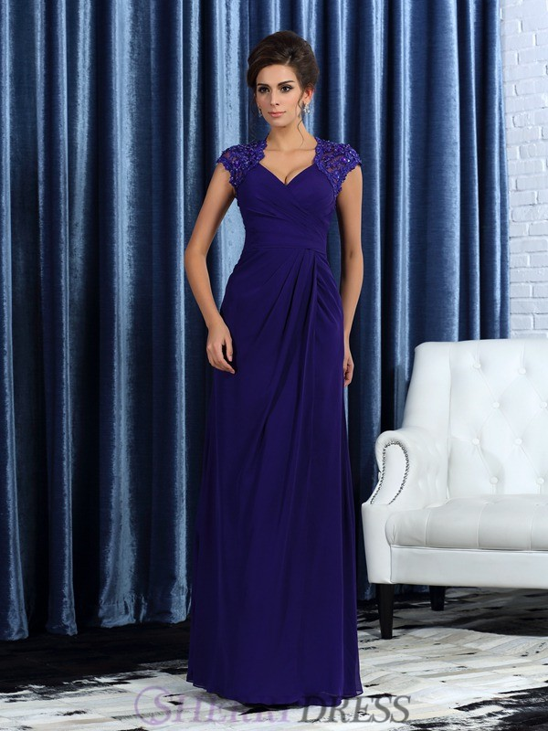 Trumpet/Mermaid V-neck Chiffon Sleeveless Floor-Length Mother of the Bride Dresses