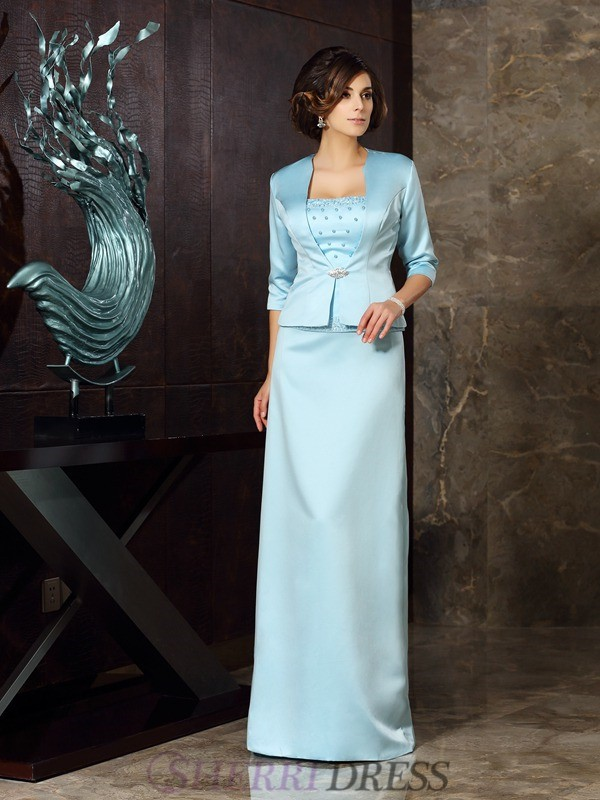 Sheath/Column Strapless Satin Sleeveless Floor-Length Mother of the Bride Dresses