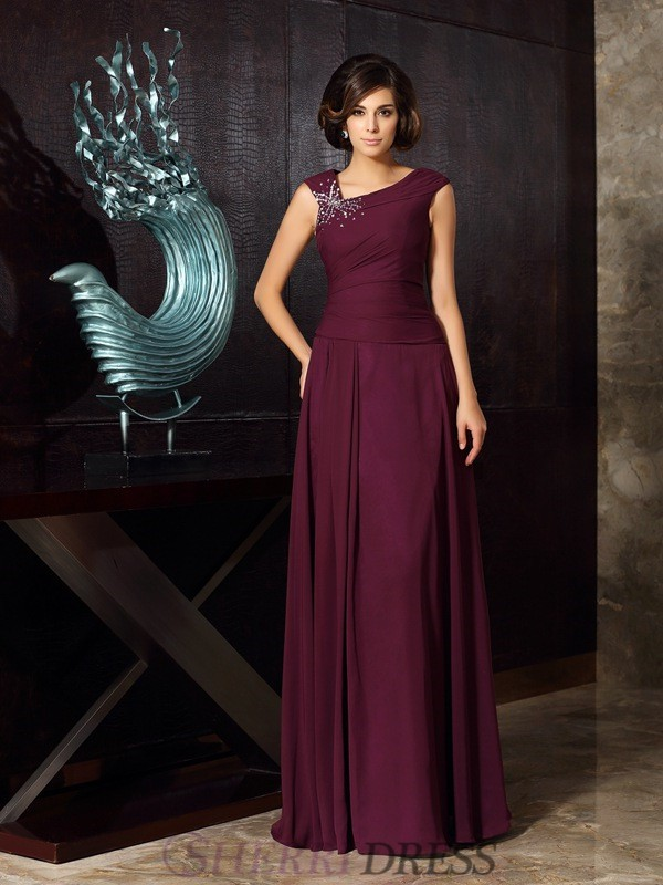 A-Line/Princess Chiffon Sleeveless Floor-Length Mother of the Bride Dresses