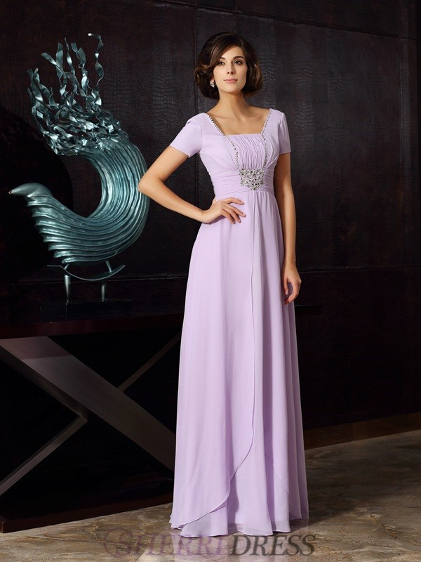 A-Line/Princess Square Chiffon Sleeveless Floor-Length Mother of the Bride Dresses