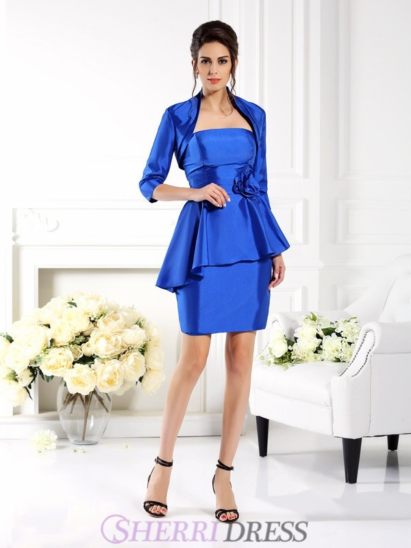 Sheath/Column Strapless Taffeta Sleeveless Short/Mini Mother of the Bride Dresses